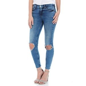 free people high rise busted knee ankle jeans